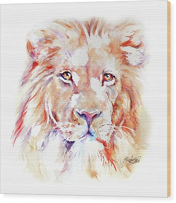 Majestic African Lion Wood Print by Stephie Butler