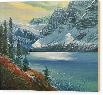 Majestic Bow River Wood Print by David Lloyd Glover
