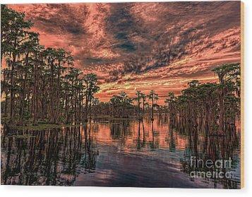 Majestic Cypress Paradise Sunset Wood Print