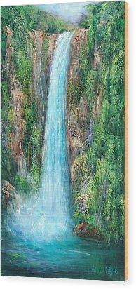 Majestic Falls Wood Print by Sally Seago