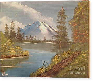 Majestic Mountain Lake Wood Print by Tim Blankenship