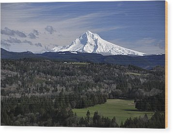 Wood Print featuring the photograph Majestic Mt Hood by Jim Walls PhotoArtist
