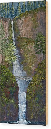 Majestic Multnomah Wood Print by Ron Smothers