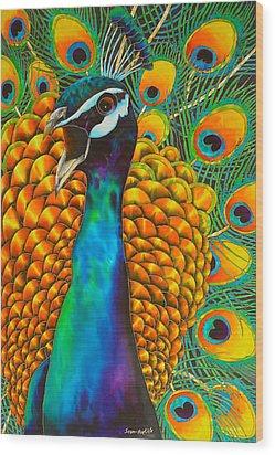 Majestic Peacock Wood Print by Daniel Jean-Baptiste