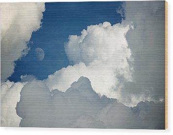 Majestic Storm Clouds With Moon Wood Print