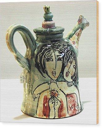 Majolica Tea Pot Wood Print by Kathleen Raven