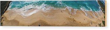 Makaha Beach Panorama Wood Print by Rob Tullis