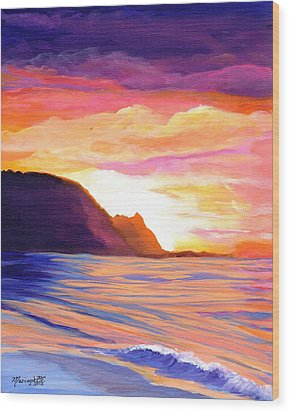 Wood Print featuring the painting Makana Sunset by Marionette Taboniar