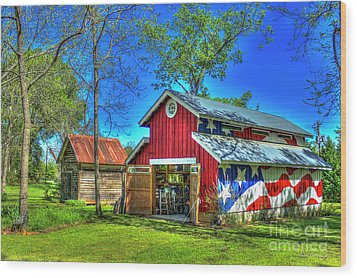 Wood Print featuring the photograph Make America Great Again Barn American Flag Art by Reid Callaway