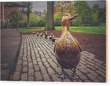 Make Way For Ducklings In Boston  Wood Print