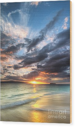 Makena Beach Maui Hawaii Sunset Wood Print by Dustin K Ryan