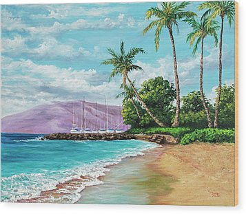 Wood Print featuring the painting Makila Beach by Darice Machel McGuire