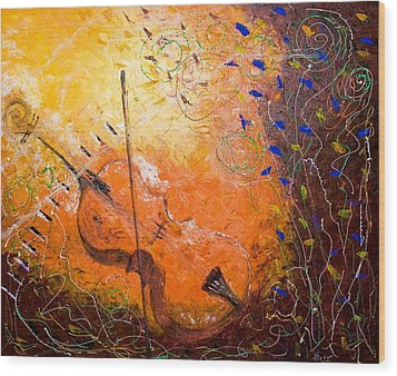Wood Print featuring the painting Making Melody by Piety Dsilva
