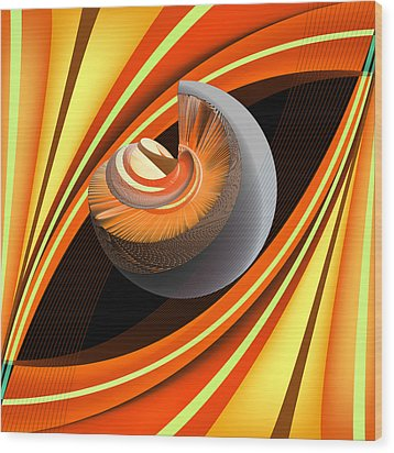 Wood Print featuring the digital art Making Orange Planets by Angelina Vick