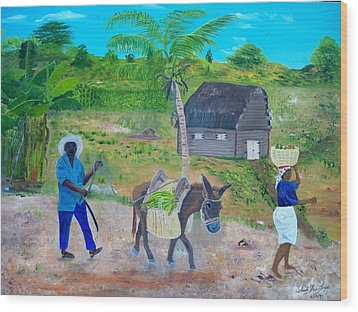 Wood Print featuring the painting Making Way For The Donkey by Nicole Jean-Louis
