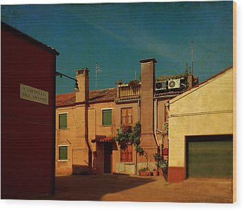 Wood Print featuring the photograph Malamocco House No2 by Anne Kotan