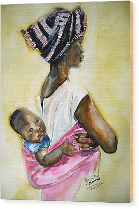 Malawian Mother Wood Print by Shirley Roma Charlton