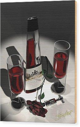 Malbec Wine - Romance Expectations Wood Print by Stuart Stone