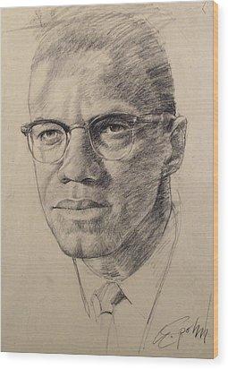 Malcolm X Wood Print by Cliff Spohn