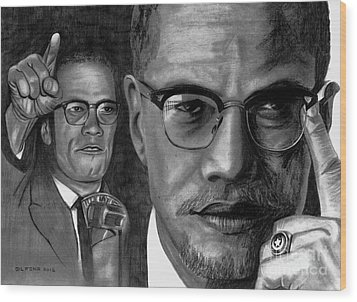 Malcolm X Wood Print by Gil Fong