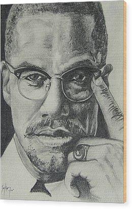 Malcolm X Wood Print by Stephen Sookoo