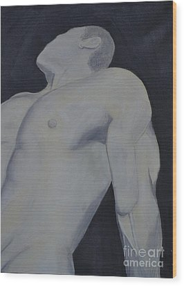 Wood Print featuring the painting Male Black And White by Lori Jacobus-Crawford