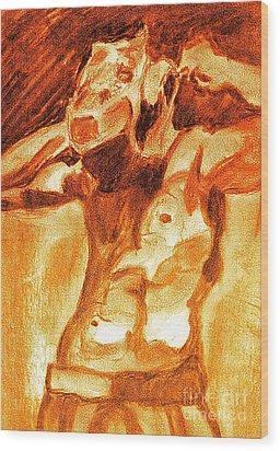Male Boxer Wood Print by Kim Wilcox