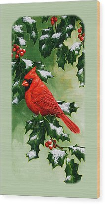 Male Cardinal And Holly Phone Case Wood Print by Crista Forest
