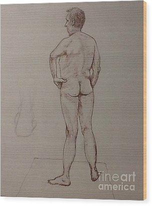Male Life Drawing Wood Print