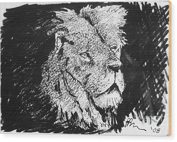 Male Lion Portrait Wood Print