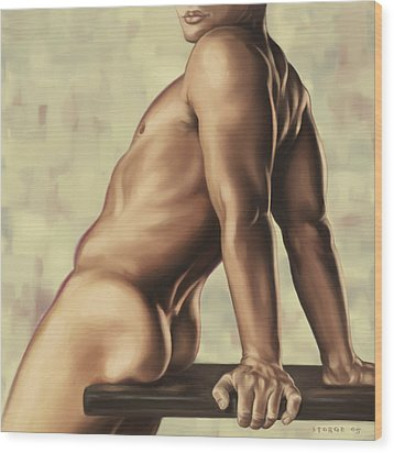 Male Nude 2 Wood Print by Simon Sturge