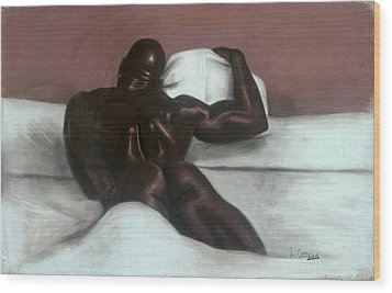 Male Nude Wood Print by L Cooper
