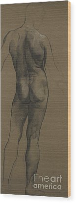 Male Nude Study Wood Print by Evelyn De Morgan