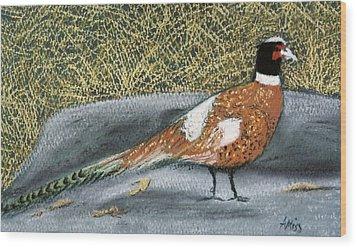 Male Pheasant Wood Print by Jan Amiss