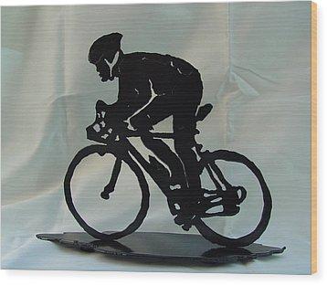 Male Road Racer Wood Print by Steve Mudge