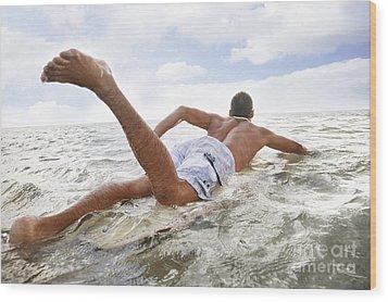 Male Surfer Wood Print by Brandon Tabiolo - Printscapes