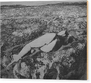 Wood Print featuring the photograph Malham Cove Nude, Yorkshire by Richard Wiggins