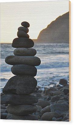 Wood Print featuring the photograph Malibu Balanced Rocks by Kyle Hanson