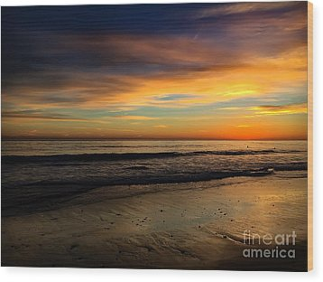 Malibu Beach Sunset Wood Print by Chris Tarpening
