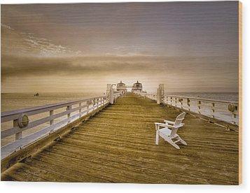Malibu Pier Sunrise Foggy Morning Wood Print