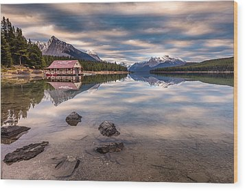 Wood Print featuring the photograph Maligne Lake Boat House Sunrise by Pierre Leclerc Photography