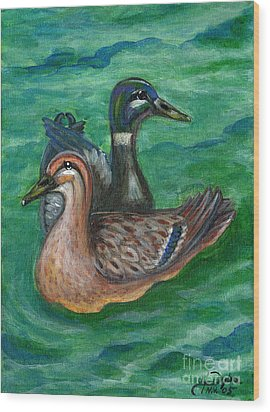 Mallard Ducks Wood Print by Anna Folkartanna Maciejewska-Dyba