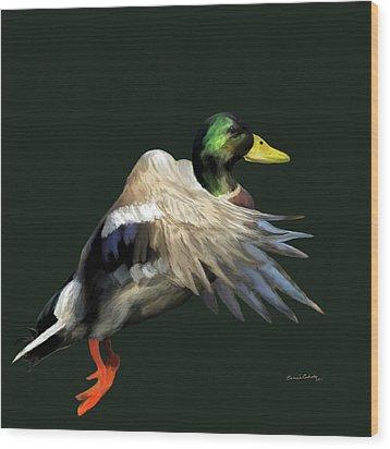 Mallard Freehand Wood Print by Ernie Echols