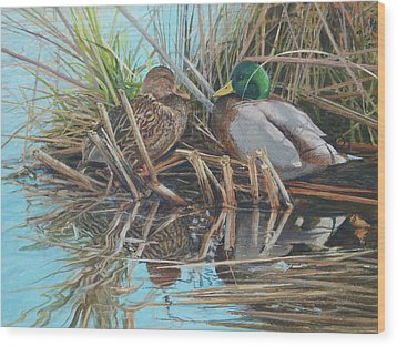 Mallards At Rithet's Bog Wood Print