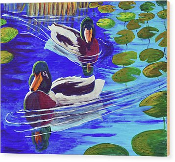 Mallards In The Pads Wood Print by Bob Crawford