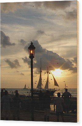 Mallory Square Key West Wood Print by Susanne Van Hulst