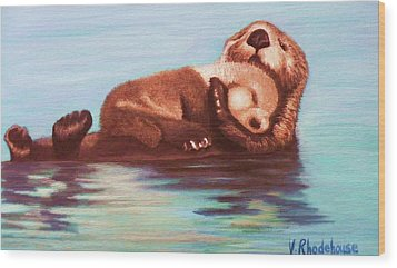 Mama And Baby Otter Wood Print