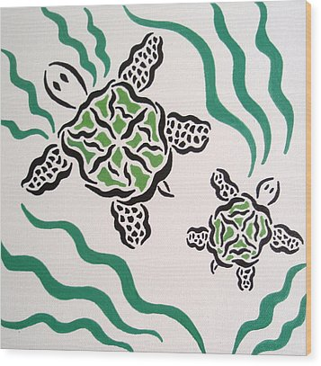 Wood Print featuring the painting Mama And Baby Sea Turtle by Beth Akerman