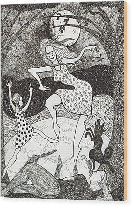 Mama Did The Moon Dance Wood Print