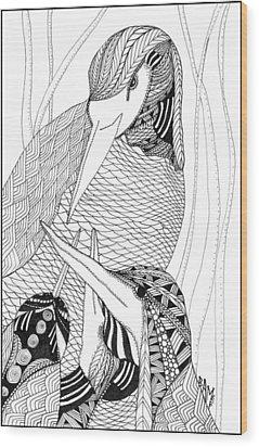 Mama Heron Wood Print